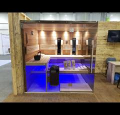 SAUNA KING Termo-nyárfa finnszauna két üvegoldallal, 215x180cm (1. sz)