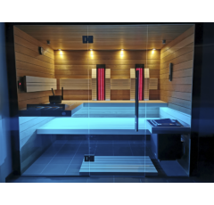 SAUNA KING 3in1 Thermo Espe Sauna mit Vollglasfront, 215x180cm