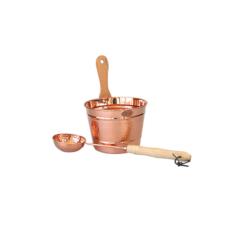 Saunakübel aus Kupfer mit passender Kelle, 5L