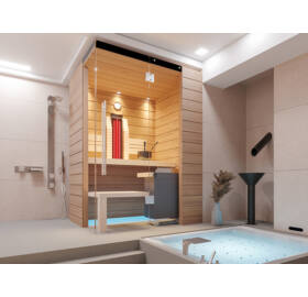 SAUNA KING Finn+Infra kombinierte Sauna Rhodos für 1-2 Personen
