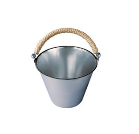 Saunakübel aus Edelstahl mit Hanfhenkel, 8L