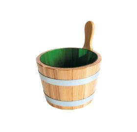 Sauna-Kübel Lärche Natur, mit Kunststoff-Einsatz, grün, 5L