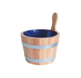 Sauna-Kübel Lärche Natur, mit Kunststoff-Einsatz, blau, 5L
