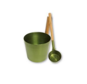 Saunakübel aus grün gefärbtem Aluminium mit passender Kelle, 5L