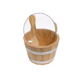 Sauna-Kübel Lärche Natur, mit Kunststoff-Einsatz, klar, 5L