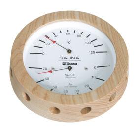 Hő- és páramérő fakeretben, 150 mm átmérő