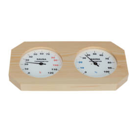 Thermo- und Hygrometer in Naturholz Rahme, hell