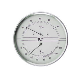 Thermo-Hygrometer Edelstahl, weiss