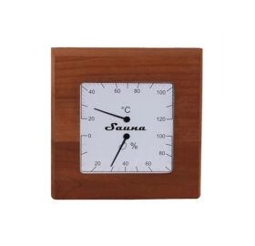 Thermo-Hygrometer Quadrat aus rotem Zedernholz