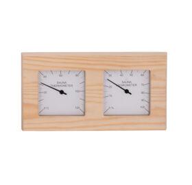 Thermo-Hygrometer  Quadrat, aus Espenholz, geteilt