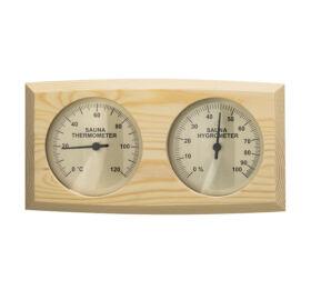 Hőmérő és páramérő, nyárfából, ívelt