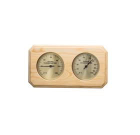 Hőmérő és páramérő, nyárfából, 8-szögű