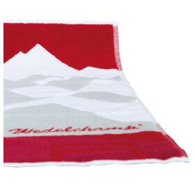 Szauna légterelő törölköző a Német Szaunaszövetség ajánlásával, piros/fehér/szürke