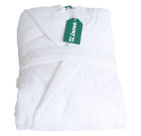 Frottír fürdőköpeny kapucnival, fehér, L / XL