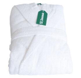Frottír fürdőköpeny kapucnival, fehér, S / M