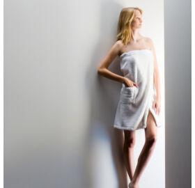 Damen Sauna-Kilt Teddy-Plüsch, Weiß