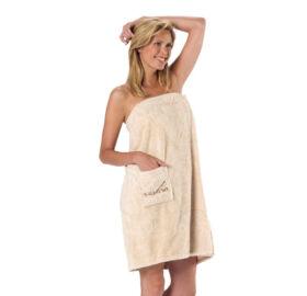 Damen Sauna-Kilt Teddy-Plüsch, Beige