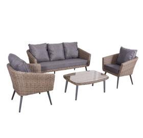 Bello Giardino Loungegruppe aus Polyrattan in braun, ANTICO