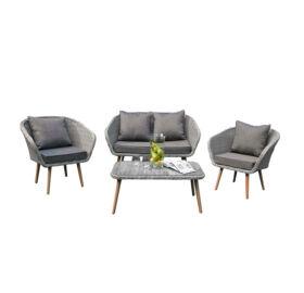 Bello Giardino Loungegruppe aus Polyrattan in grau melange, LARGO