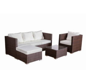 Bello Giardino Loungegruppe aus Polyrattan in braun, AMARO