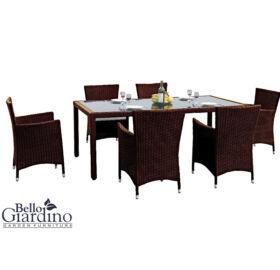 Bello Giardino kerti műrattan étkező szett sötétbarna színben, CAPITALE