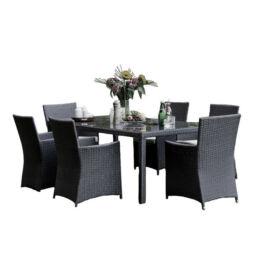 Bello Giardino Garten Esstisch Set aus Polyrattan in schwarz, 6 Sessel, GUSTOSO