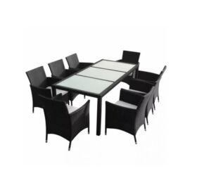 Bello Giardino kerti műrattan étkező szett fekete színben, 8 székkel, GUSTOSO GRANDE