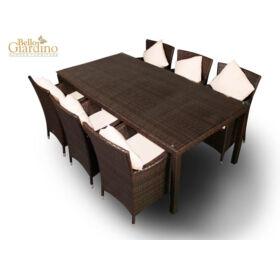 Bello Giardino kerti műrattan étkező szett sötétbarna színben, 6 székkel, GUSTOSO