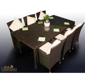 Kerti étkező szett GUSTOSO, sötétbarna, 6 székkel