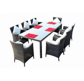 Bello Giardino Garten Esstisch Set aus Polyrattan in matt grau, 8 Sessel, GUSTOSO GRANDE
