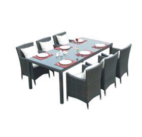 Bello Giardino Garten Esstisch Set aus Polyrattan in matt grau, 6 Sessel, GUSTOSO