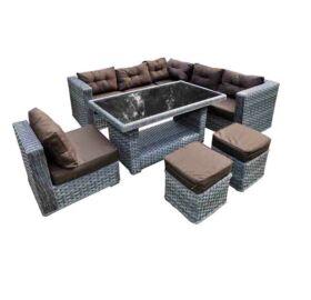 Bello Giardino Loungegruppe aus Polyrattan in grau melange, MAESTOSO