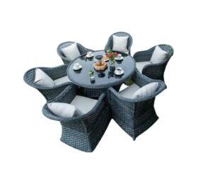 Bello Giardino Garten Esstisch Set aus Polyrattan in grau, MODERNO GRANDE
