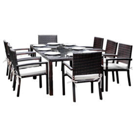 Bello Giardino kerti műrattan étkező szett sötétbarna színben, 8 székkel, OMBROSO