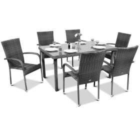 Bello Giardino Garten Esstisch Set aus Polyrattan in schwarz, 8 Sessel, SOTTILE