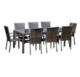 Bello Giardino Garten Esstisch Set aus Polyrattan in dunkelbraun, 8 Sessel, SOTTILE