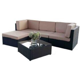 Bello Giardino Loungegruppe aus Polyrattan in schwarz, TINTO
