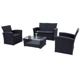 Bello Giardino Loungegruppe aus Polyrattan in schwarz, UNICO