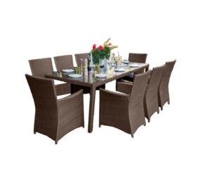Bello Giardino kerti műrattan étkező szett sötétbarna színben, 8 székkel, GUSTOSO GRANDE