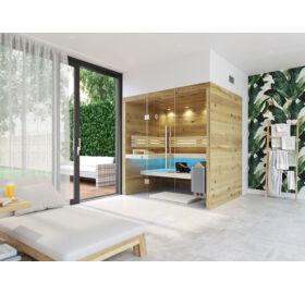 SAUNA KING finnszauna 3-4 főre repedezett tölgyfa saunaboard-ból, teljes üvegfronttal, 200x160cm