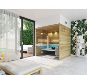 SAUNA KING finnszauna 4-5 főre repedezett tölgyfa saunaboard-ból, teljes üvegfronttal, 200x200cm