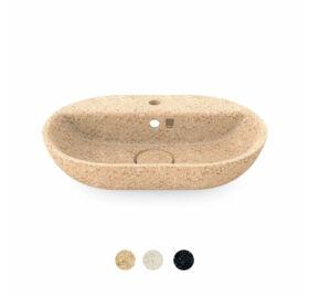 """WOODIO Waschbecken """"Soft60"""", ovalförmig, mit Wasserhahn-Loch, Kollektion """"Core"""""""