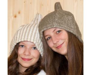 Sauna-Mütze aus Leinen-Frottee, gestreift