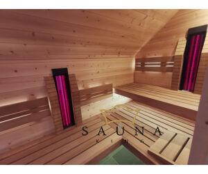 SAUNA KING Finnsauna Flores für 4-5 Personen aus Zirbenholz