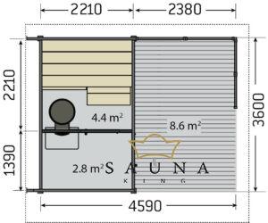 HARVIA kerti szauna SOLIDE, modell II.