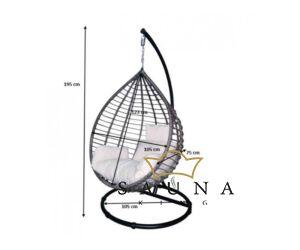 Bello Giardino Hängesessel aus Polyrattan in grau, SPESSO