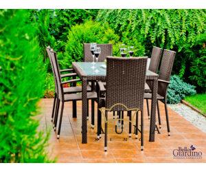 Bello Giardino kerti műrattan étkező szett sötétbarna színben, AVVICENTE