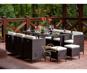 Bello Giardino Garten Esstisch Set aus Polyrattan in dunkelbraun, CRISTALLO GRANDE