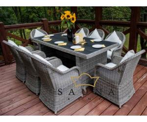 Bello Giardino Garten Esstisch Set aus Polyrattan in grau, VERO GRANDE