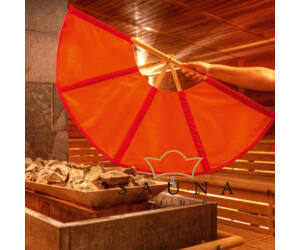 Finnsa Sauna-Fächer KLEIN (zusammengeklappt 50cm, aufgeklappt 74cm), ROT/ORANGE